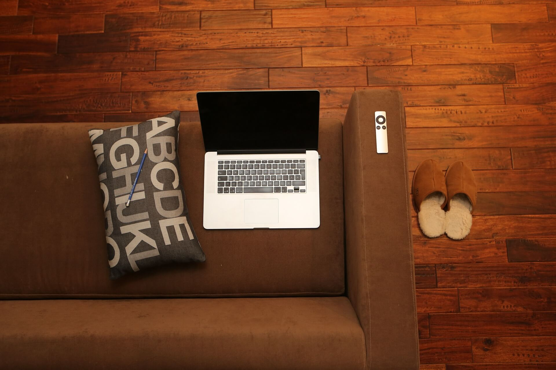 Working from home: laptop on couch