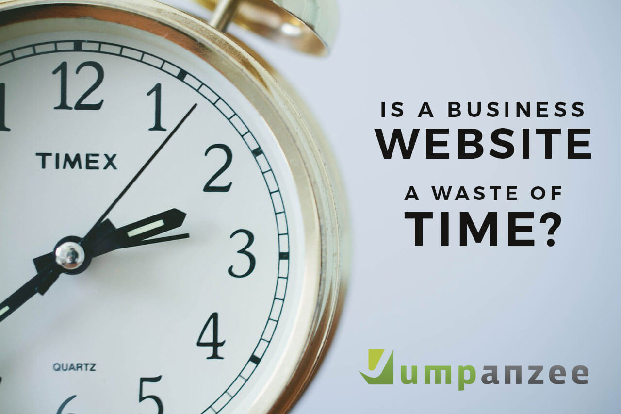 clock with question: is a business website a waste of time?