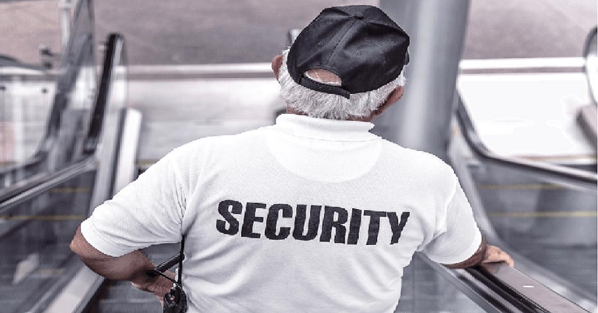 successful leadership - security guard on escalator
