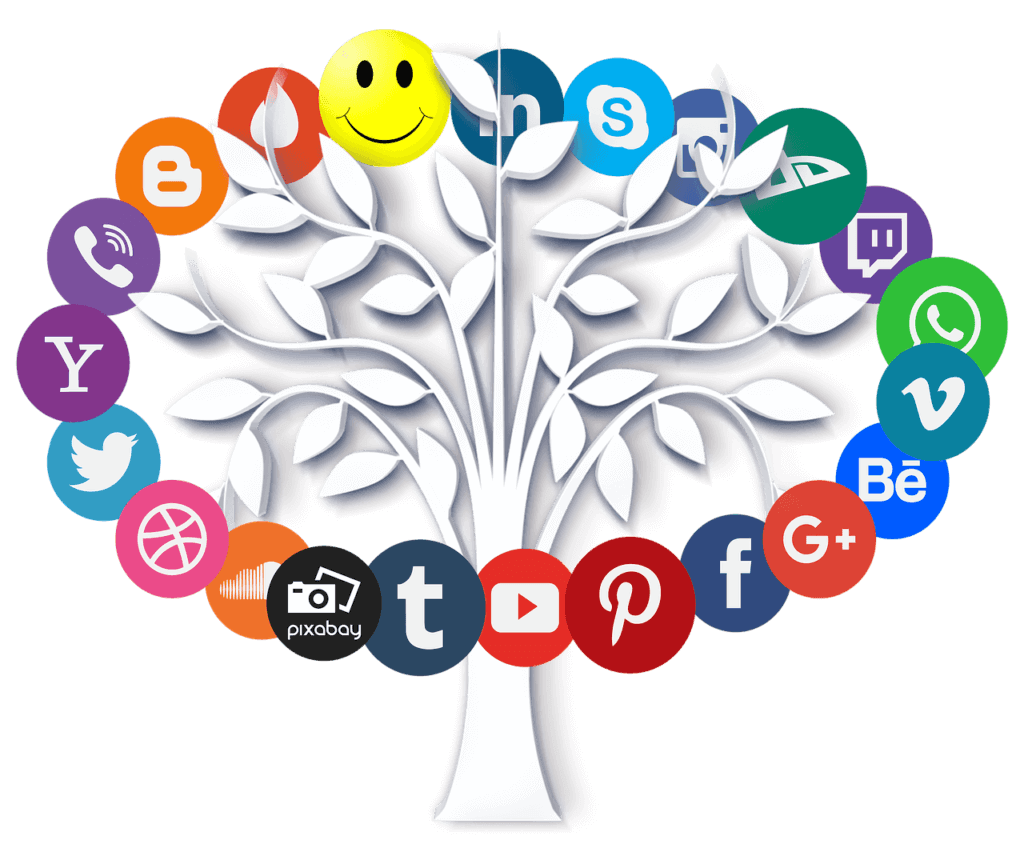 Best 2018 B2B Social Media Channels - Tree with Social Media Icons